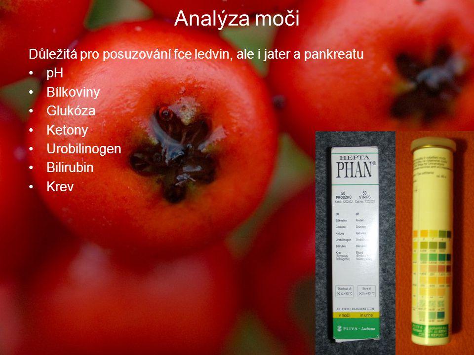 Analýza moči Důležitá pro posuzování fce ledvin, ale i jater a pankreatu. pH. Bílkoviny. Glukóza.