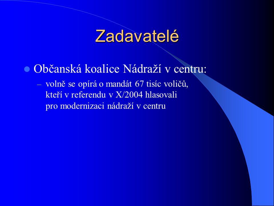 Zadavatelé Občanská koalice Nádraží v centru: