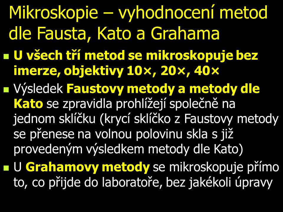 Mikroskopie – vyhodnocení metod dle Fausta, Kato a Grahama