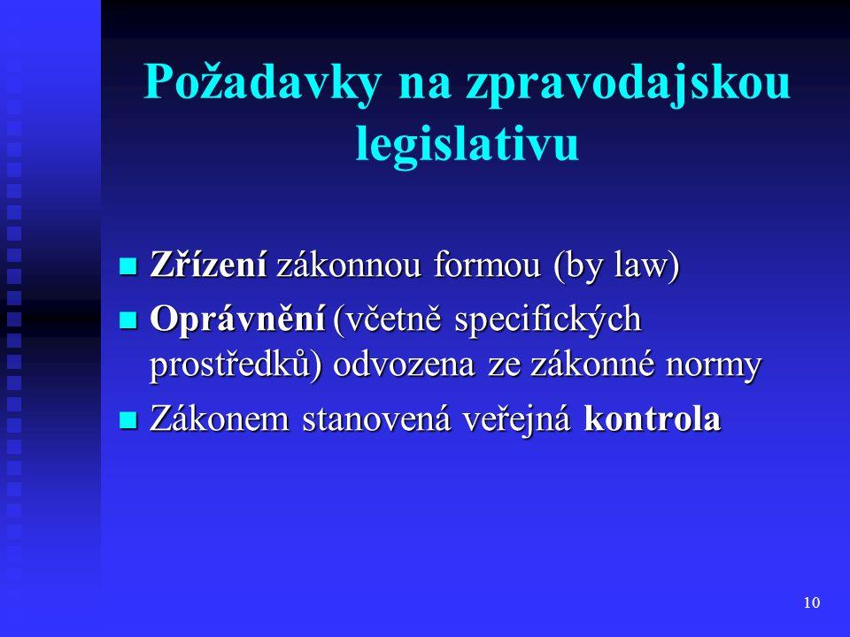 Požadavky na zpravodajskou legislativu