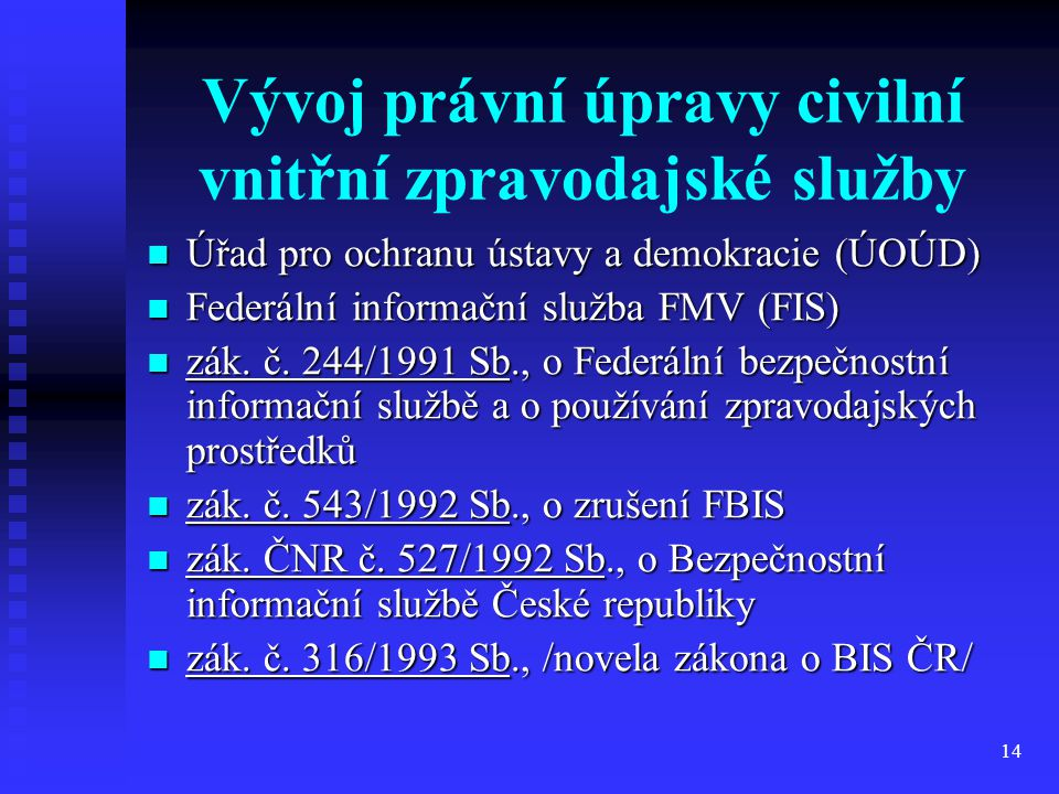 Vývoj právní úpravy civilní vnitřní zpravodajské služby