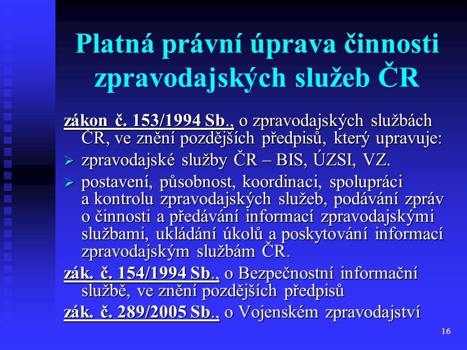 Platná právní úprava činnosti zpravodajských služeb ČR