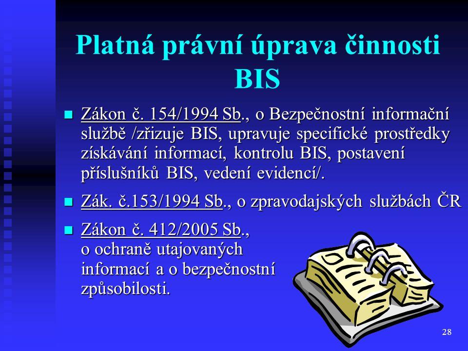Platná právní úprava činnosti BIS