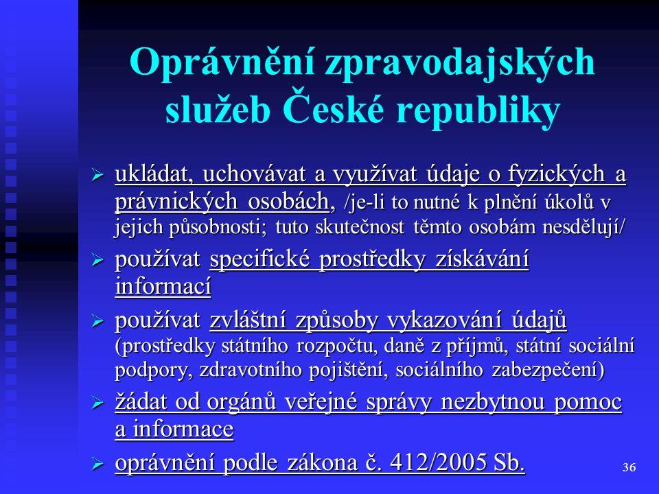 Oprávnění zpravodajských služeb České republiky