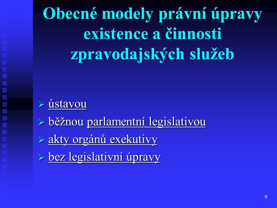 Obecné modely právní úpravy existence a činnosti zpravodajských služeb