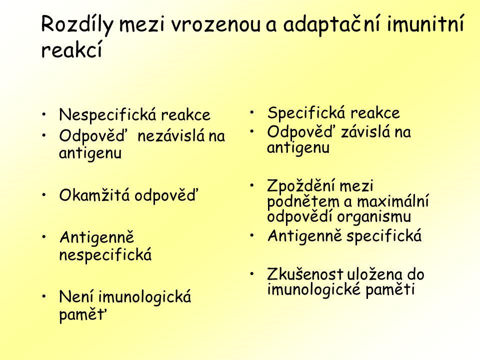 Rozdíly mezi vrozenou a adaptační imunitní reakcí