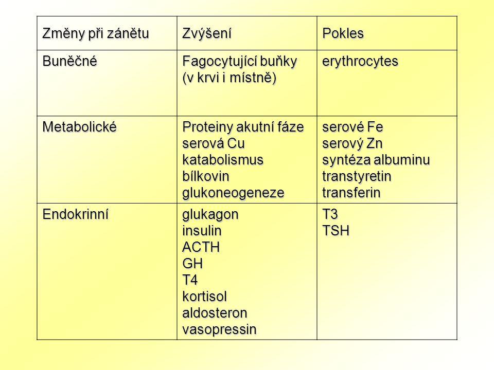 Změny při zánětu Zvýšení. Pokles. Buněčné. Fagocytující buňky (v krvi i místně) erythrocytes. Metabolické.