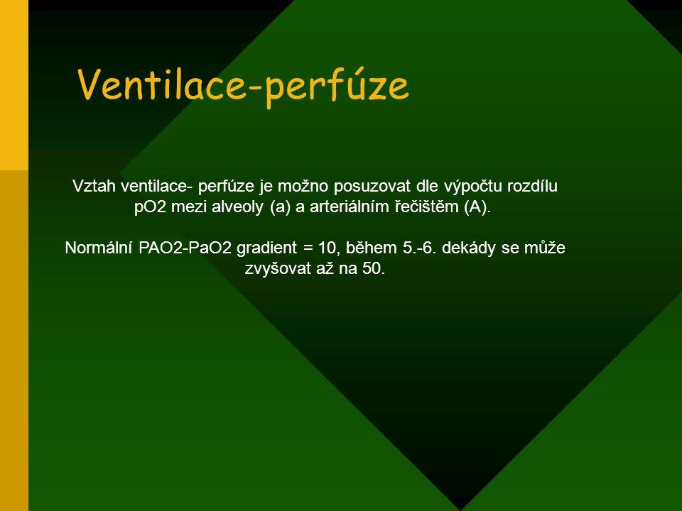 Ventilace-perfúze Vztah ventilace- perfúze je možno posuzovat dle výpočtu rozdílu pO2 mezi alveoly (a) a arteriálním řečištěm (A).