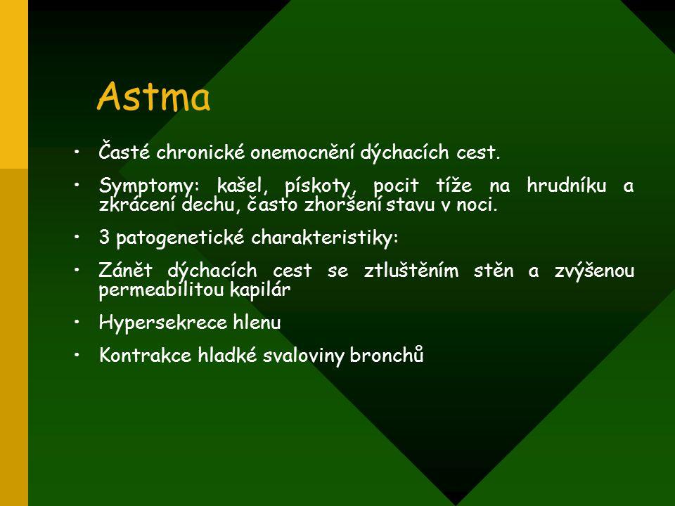 Astma Časté chronické onemocnění dýchacích cest.