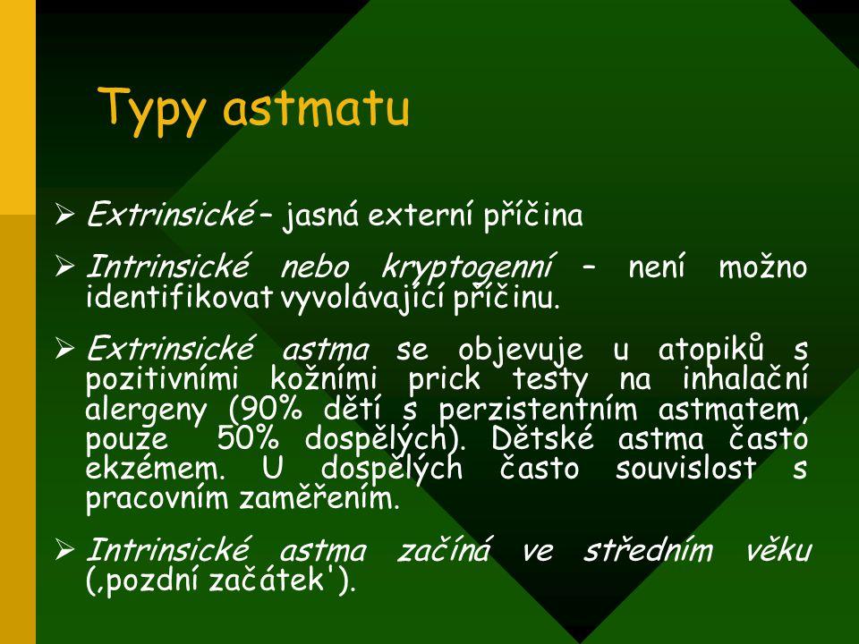 Typy astmatu Extrinsické – jasná externí příčina