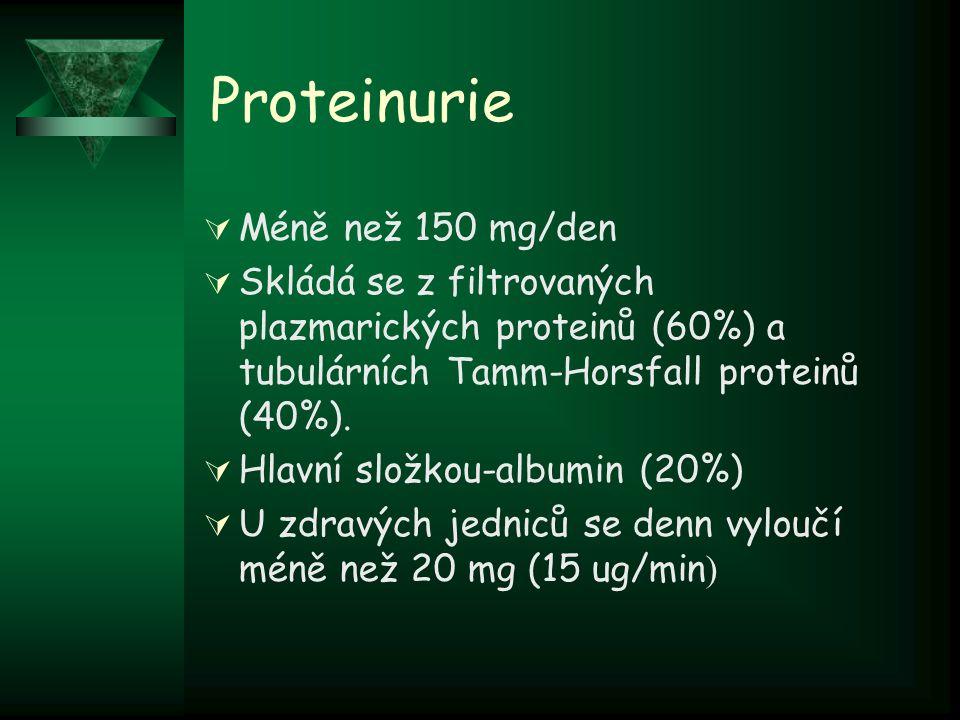 Proteinurie Méně než 150 mg/den