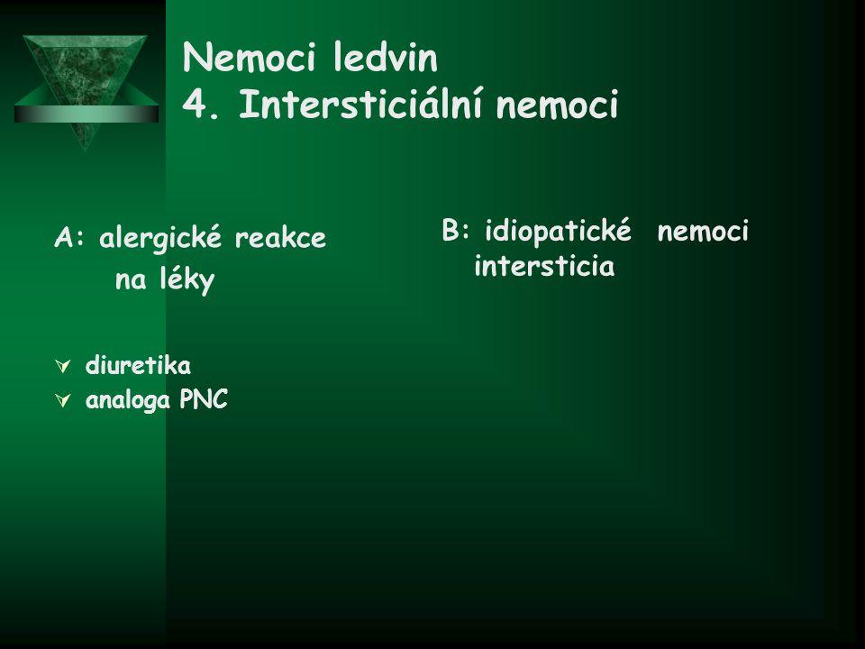 Nemoci ledvin 4. Intersticiální nemoci