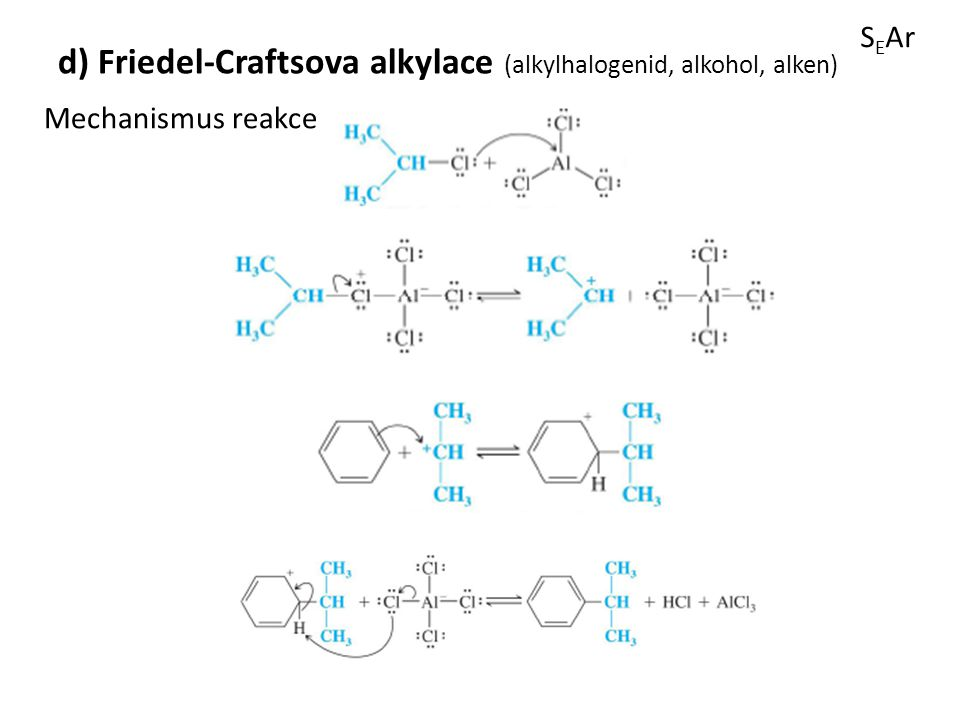 d) Friedel-Craftsova alkylace (alkylhalogenid, alkohol, alken)