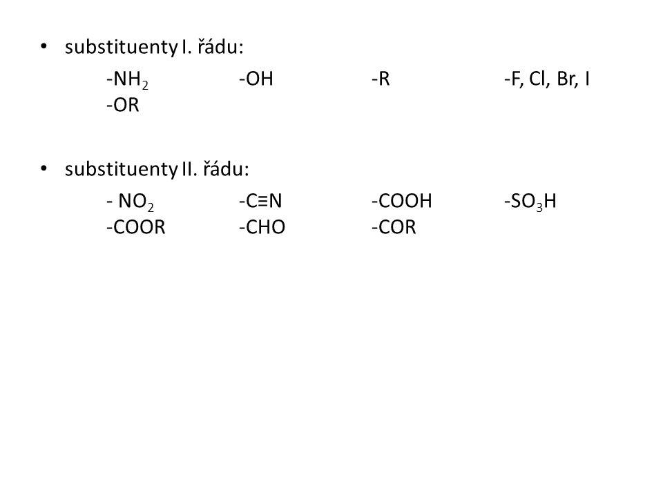 substituenty I. řádu: -NH2 -OH -R -F, Cl, Br, I -OR.