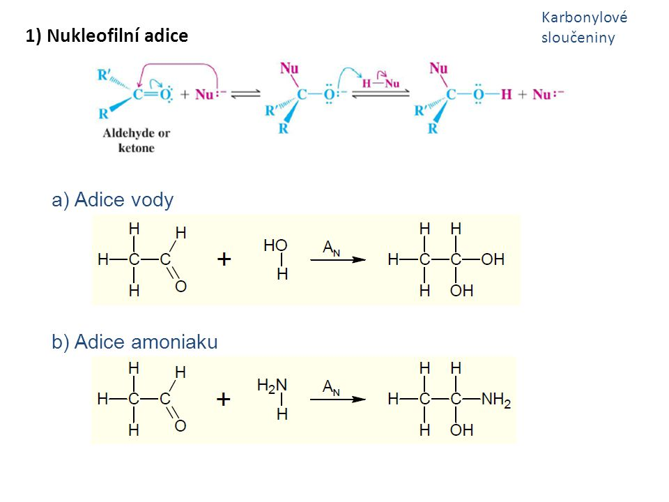 1) Nukleofilní adice a) Adice vody b) Adice amoniaku