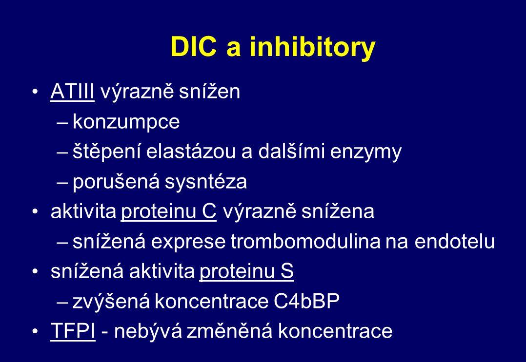 DIC a inhibitory ATIII výrazně snížen konzumpce