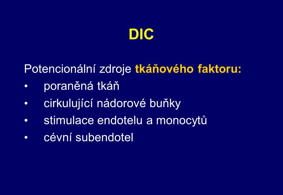 DIC Potencionální zdroje tkáňového faktoru: poraněná tkáň