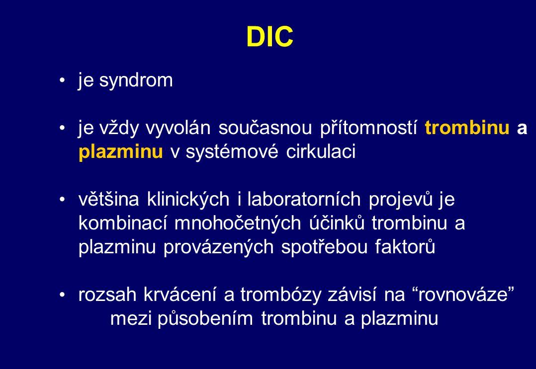 DIC je syndrom. je vždy vyvolán současnou přítomností trombinu a plazminu v systémové cirkulaci.