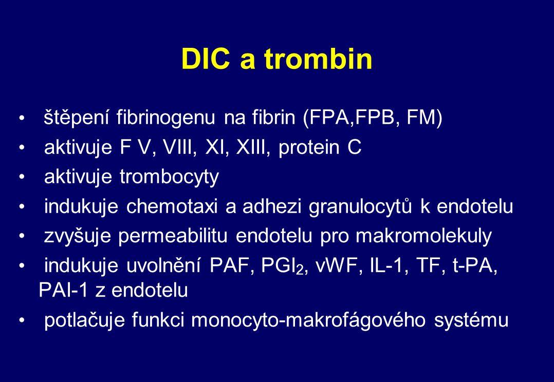 DIC a trombin štěpení fibrinogenu na fibrin (FPA,FPB, FM)