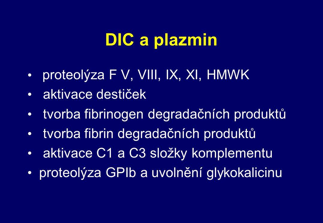 DIC a plazmin proteolýza F V, VIII, IX, XI, HMWK aktivace destiček