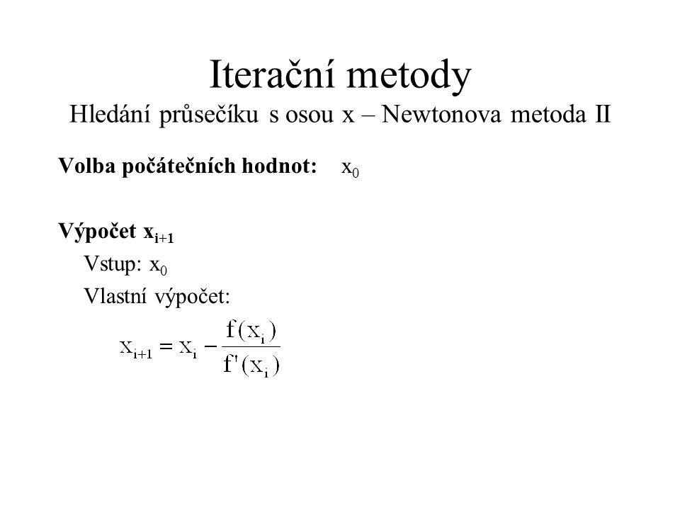 Iterační metody Hledání průsečíku s osou x – Newtonova metoda II