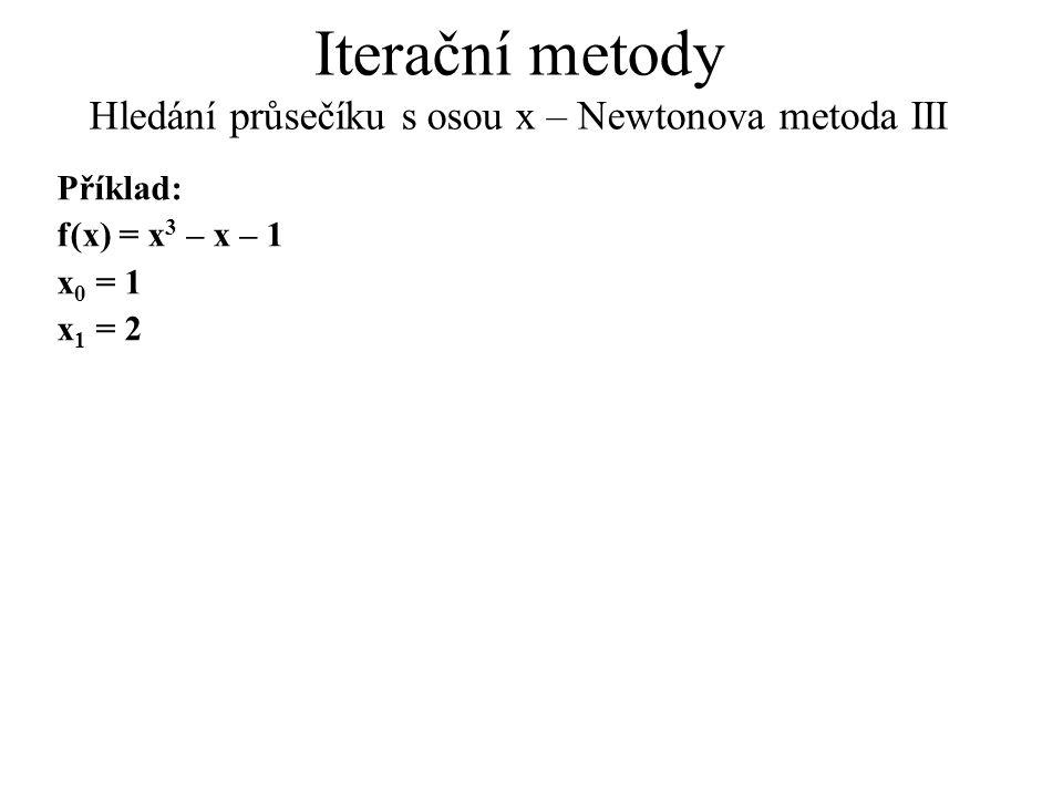 Iterační metody Hledání průsečíku s osou x – Newtonova metoda III