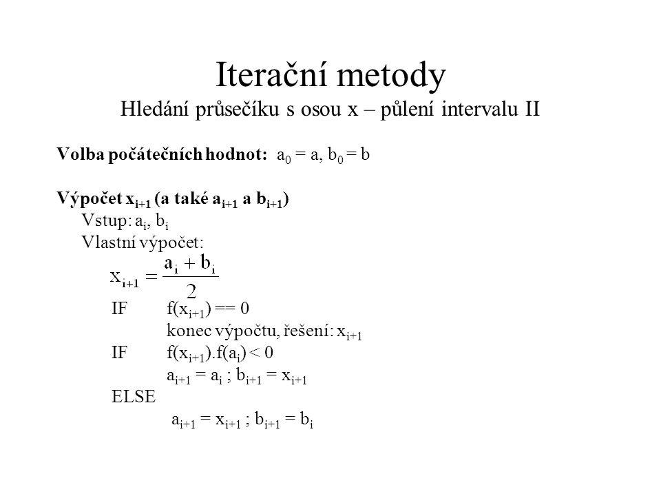 Iterační metody Hledání průsečíku s osou x – půlení intervalu II