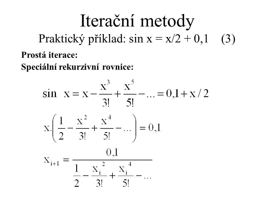 Iterační metody Praktický příklad: sin x = x/2 + 0,1 (3)