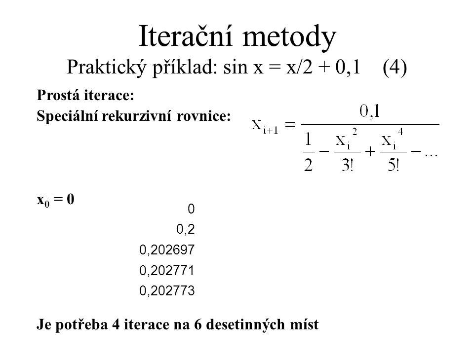 Iterační metody Praktický příklad: sin x = x/2 + 0,1 (4)