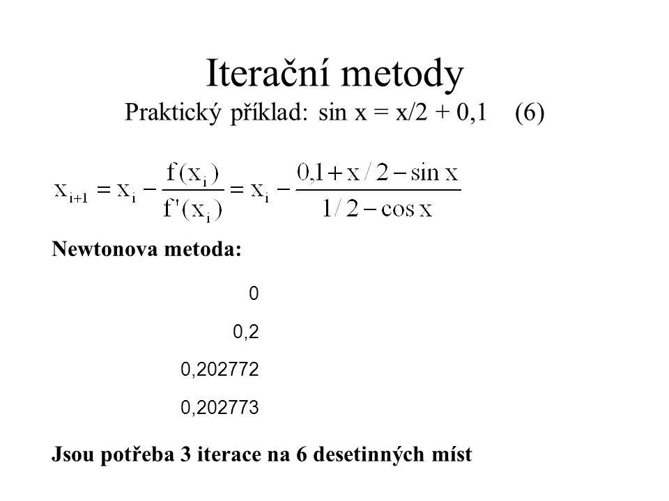 Iterační metody Praktický příklad: sin x = x/2 + 0,1 (6)