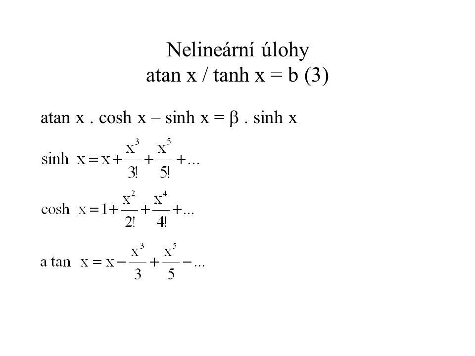Nelineární úlohy atan x / tanh x = b (3)
