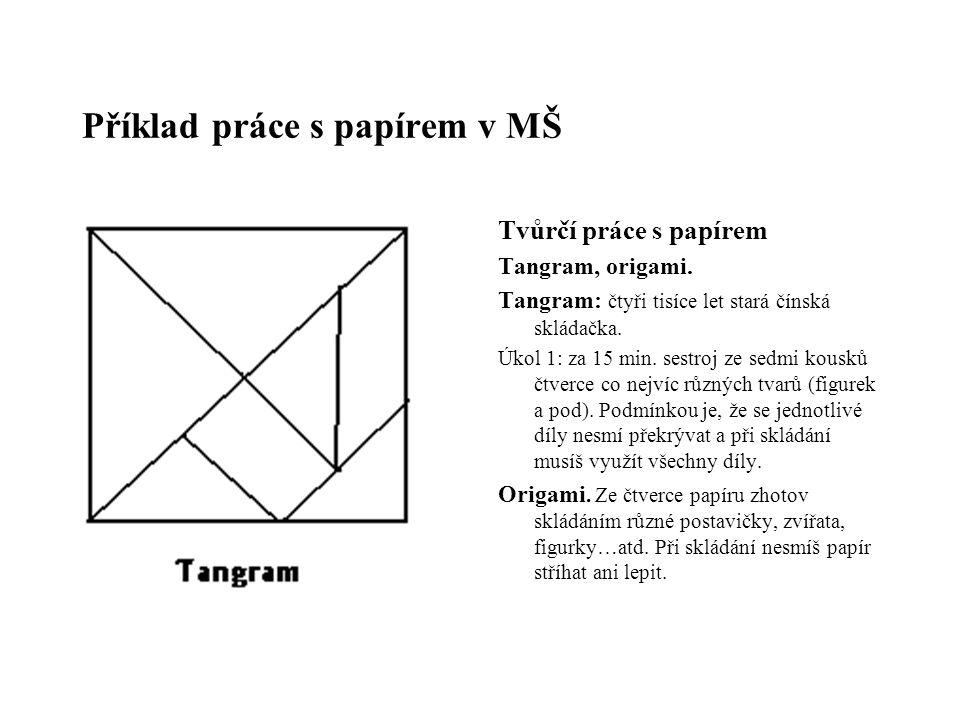 Příklad práce s papírem v MŠ