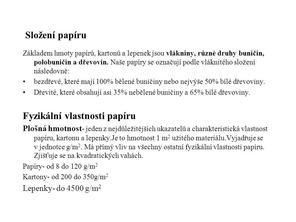 Fyzikální vlastnosti papíru