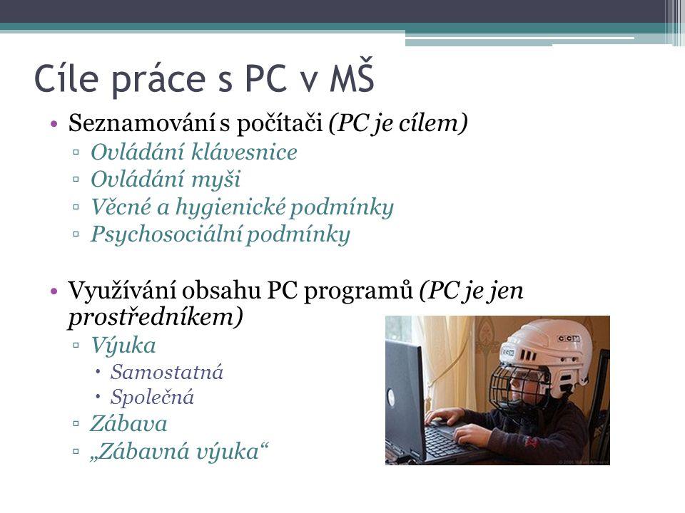 Cíle práce s PC v MŠ Seznamování s počítači (PC je cílem)