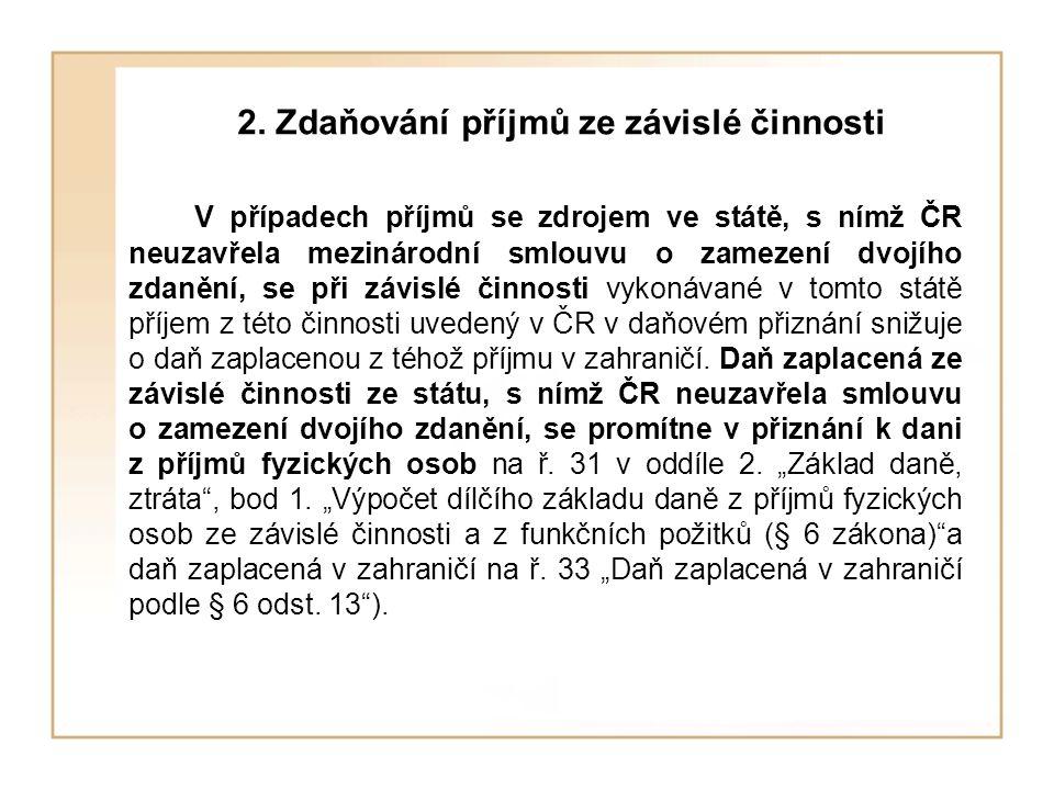 2. Zdaňování příjmů ze závislé činnosti