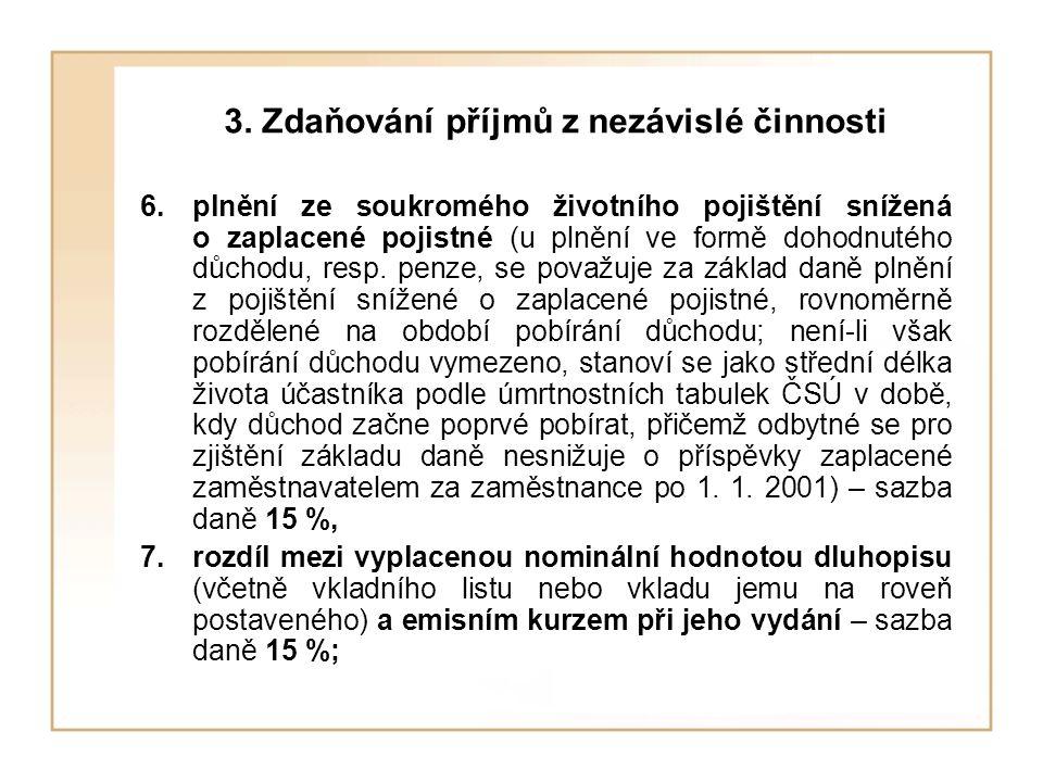 3. Zdaňování příjmů z nezávislé činnosti