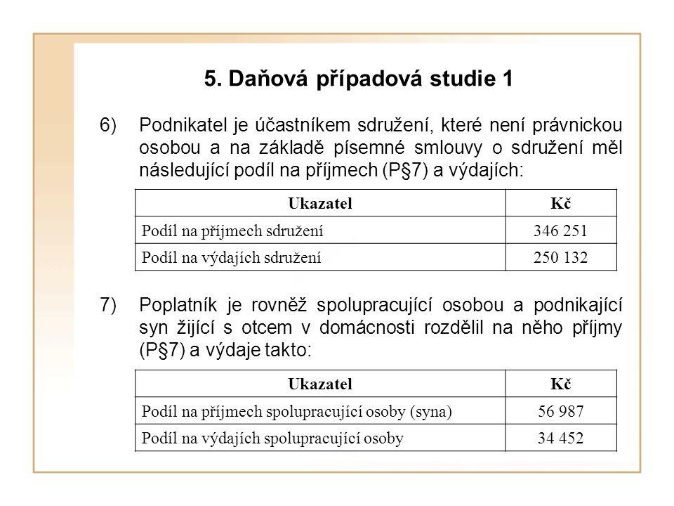 5. Daňová případová studie 1