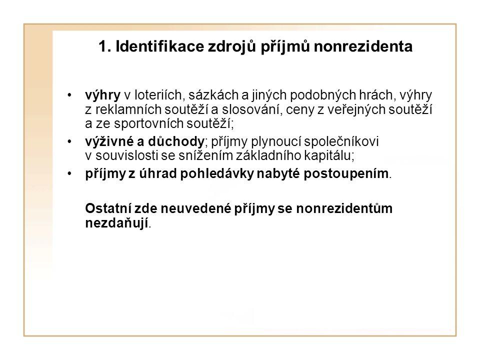 1. Identifikace zdrojů příjmů nonrezidenta