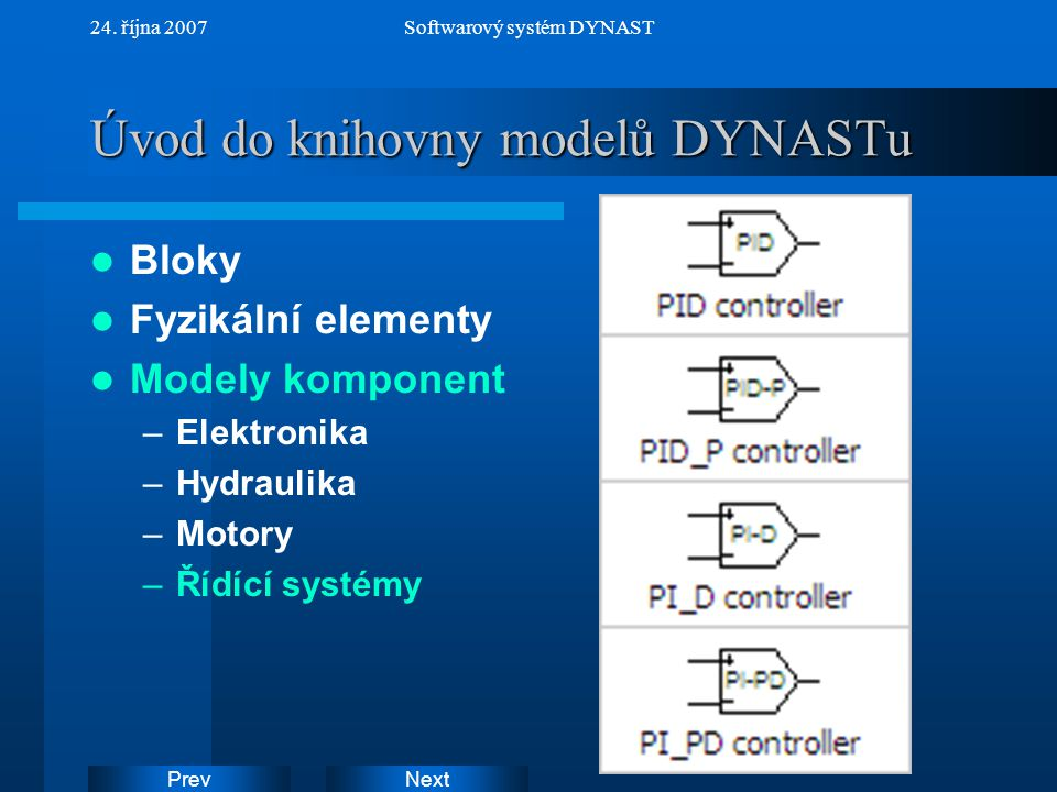 Úvod do knihovny modelů DYNASTu