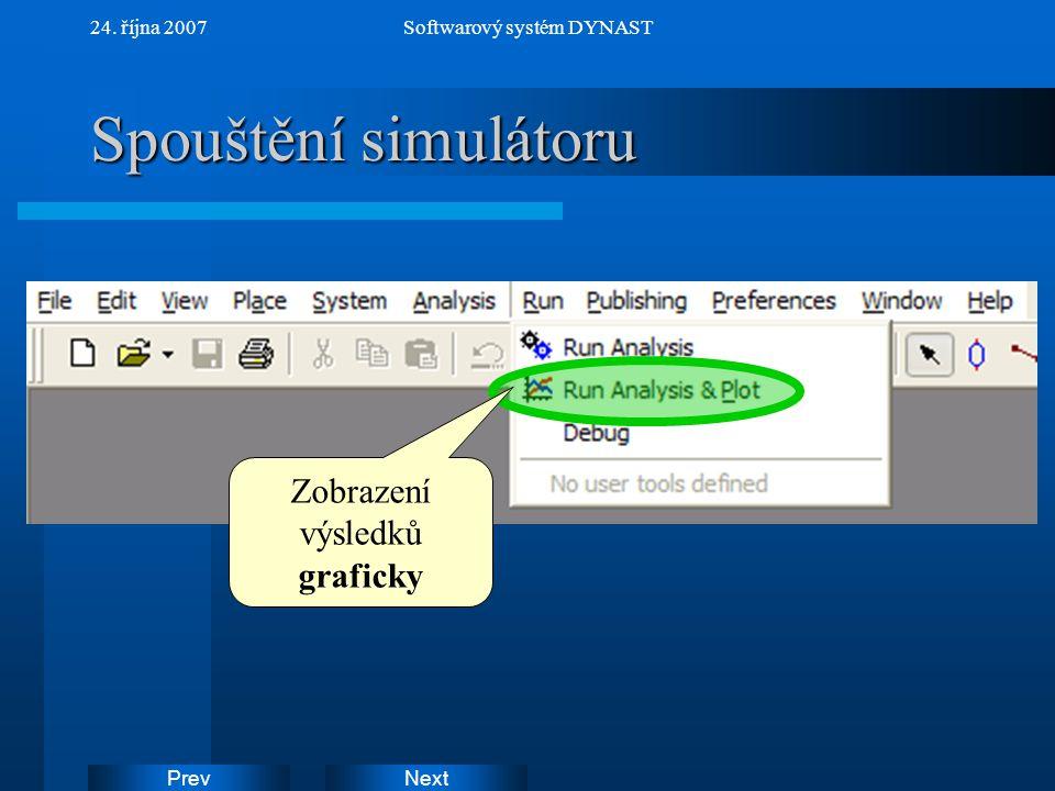 Spouštění simulátoru Zobrazení výsledků graficky 24. října 2007