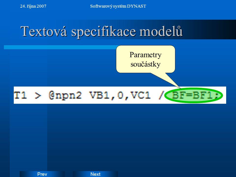 Textová specifikace modelů