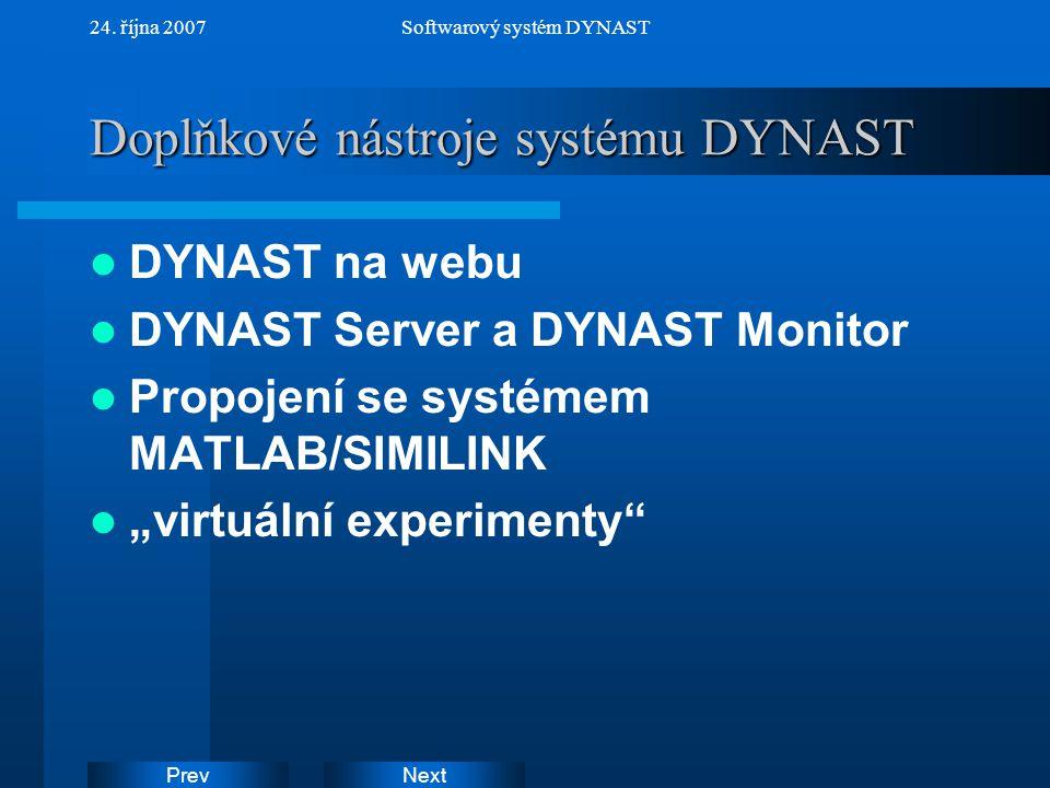 Doplňkové nástroje systému DYNAST