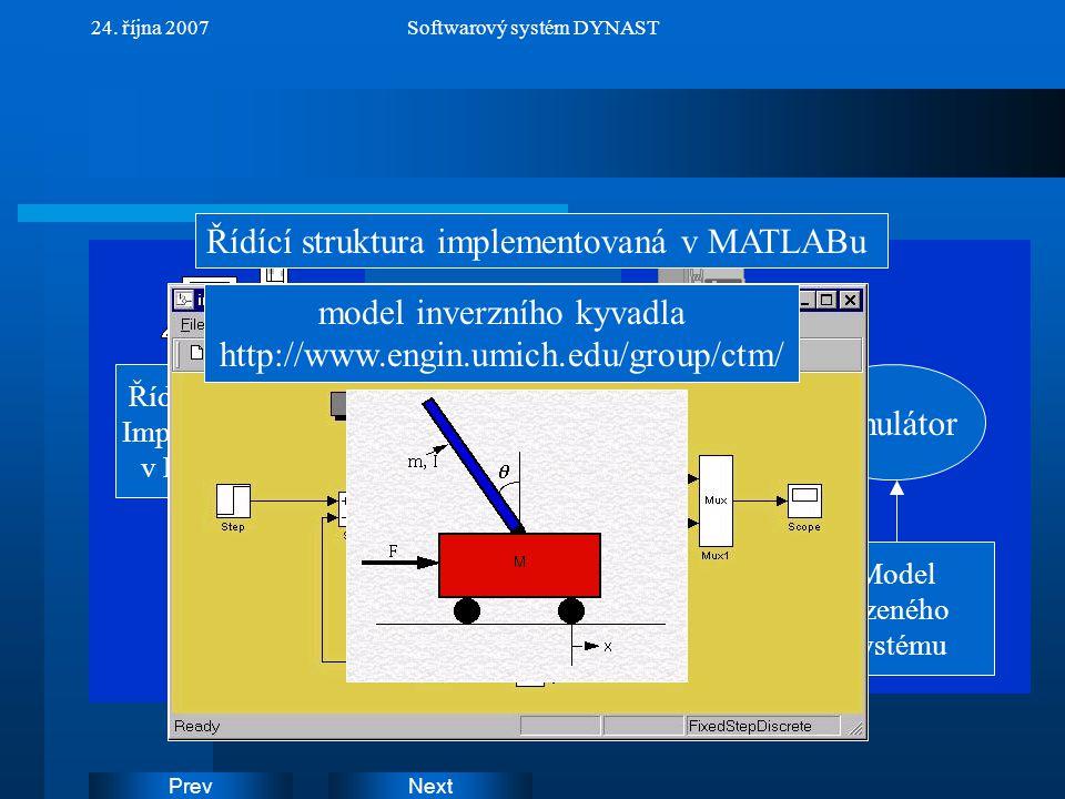 Řídící struktura implementovaná v MATLABu