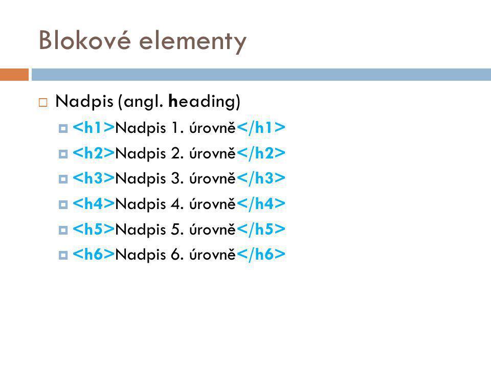 Blokové elementy Nadpis (angl. heading)