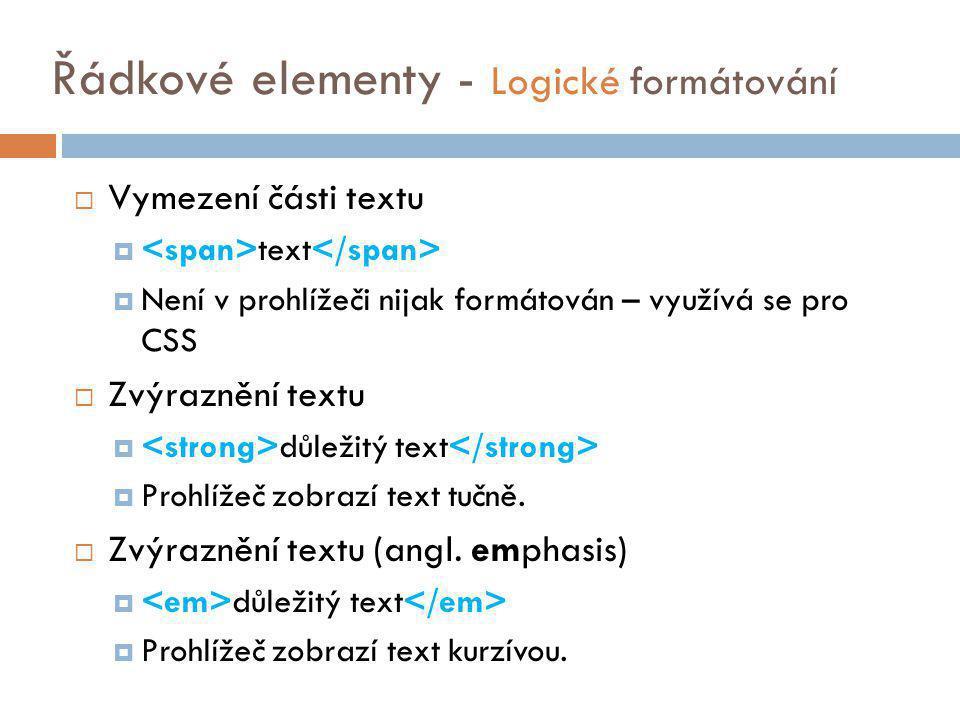 Řádkové elementy - Logické formátování