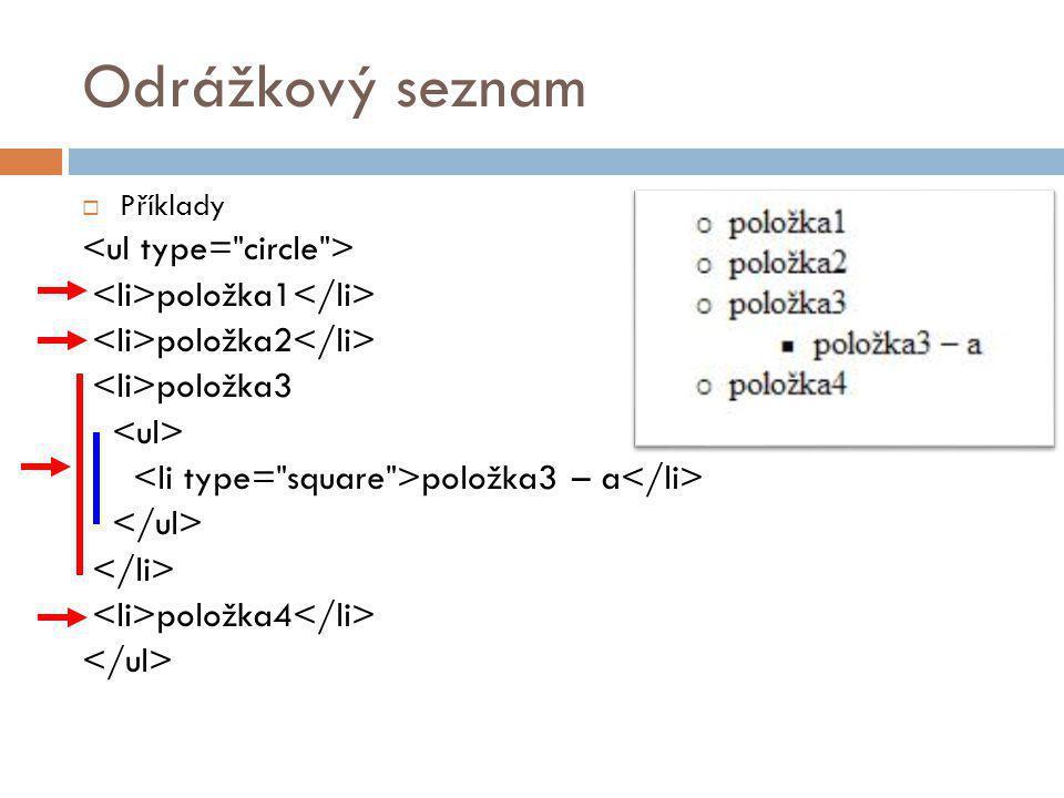 Odrážkový seznam <ul type= circle >