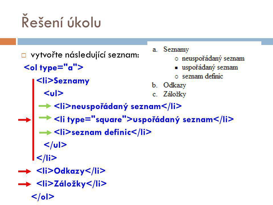 Řešení úkolu vytvořte následující seznam: <ol type= a >
