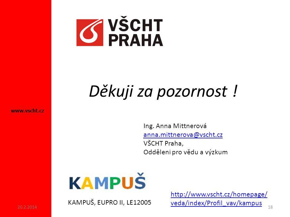 Děkuji za pozornost ! Ing. Anna Mittnerová anna.mittnerova@vscht.cz