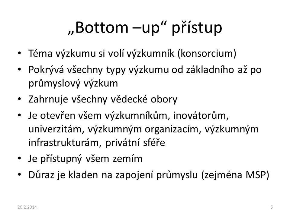 """""""Bottom –up přístup Téma výzkumu si volí výzkumník (konsorcium)"""