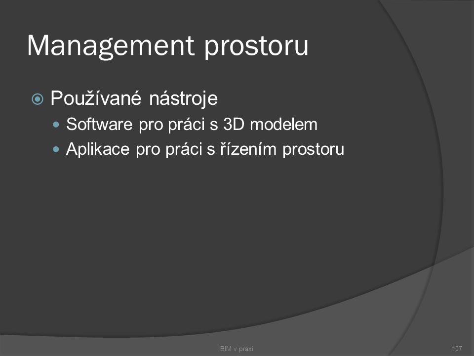 Management prostoru Používané nástroje Software pro práci s 3D modelem
